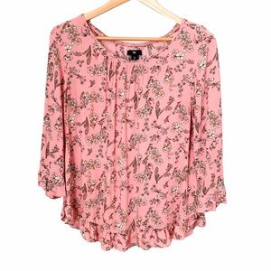Gap Pink Floral Blouse with Ruffle Detail